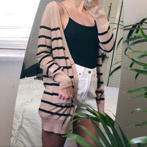 Sweaters - Latte & black striped pocket cardi